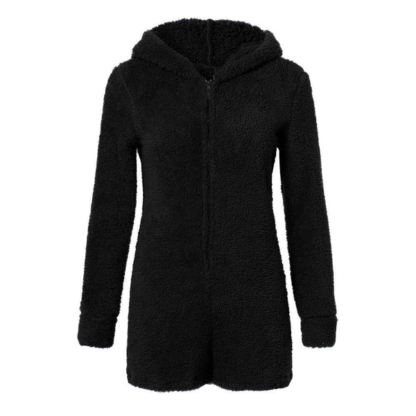 Izzy Fluffy Teddy Lounge Playsuit Black