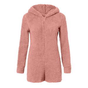 Izzy Fluffy Teddy Lounge Playsuit Pink