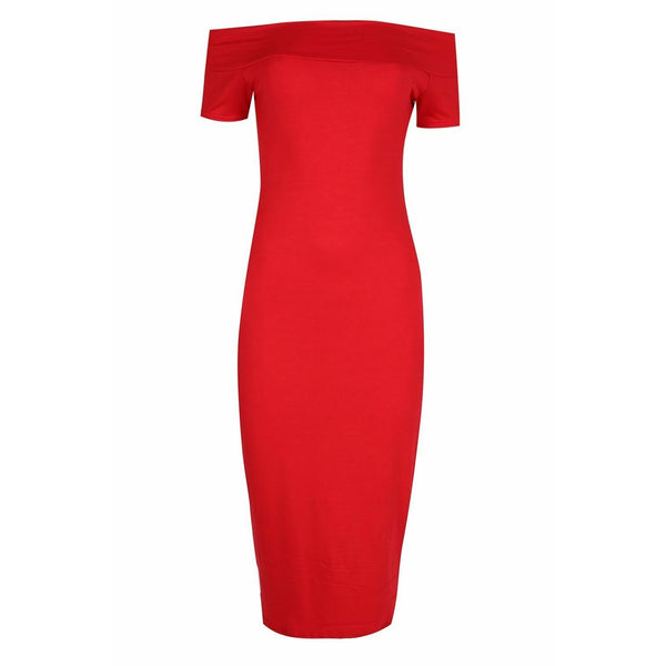 Tessa Bardot Dress Red