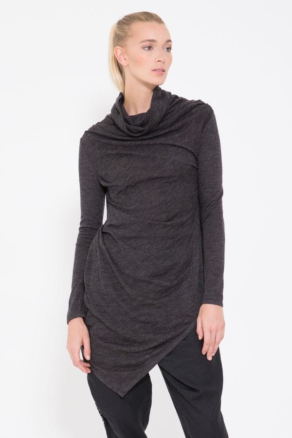 Exaggerated Cowl Neck Knit Top