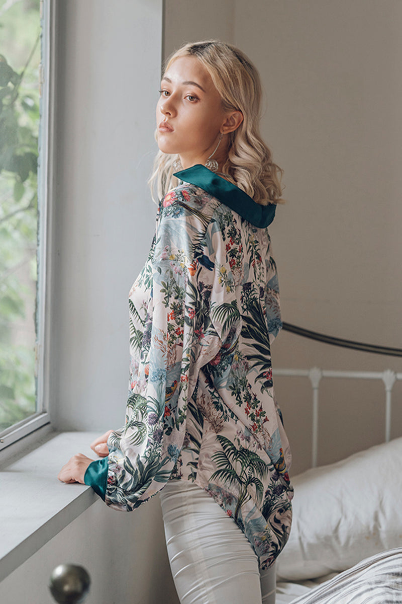Tropical Floral Print Collared Shirt