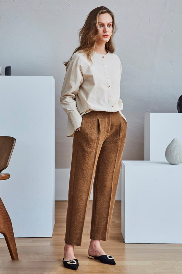 Pintuck Wool Pants