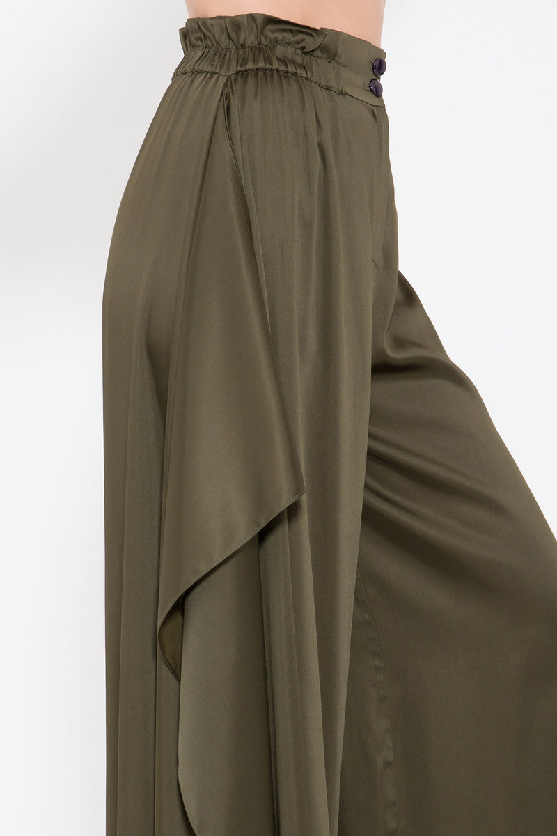 Draped Seam Wide Pants