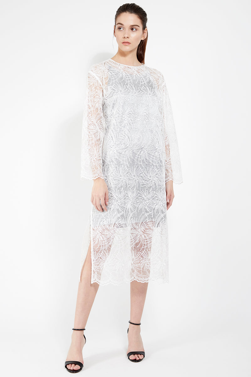 See Through Lace Midi Dress