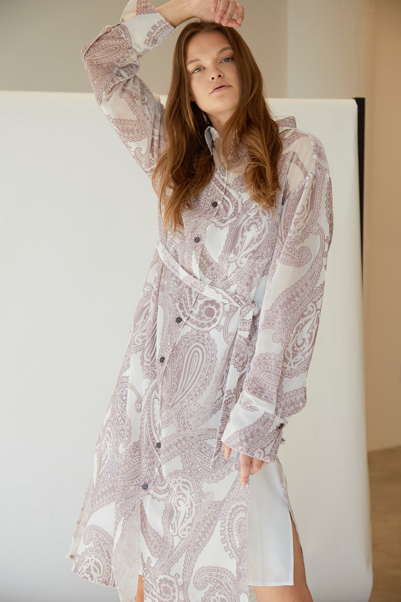 Burn Out Printed Shirt Dress