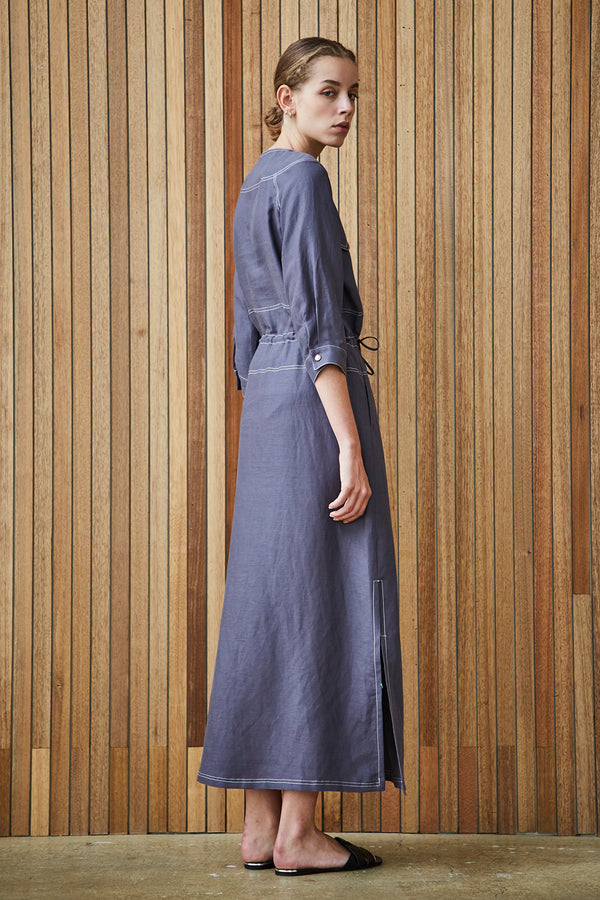 Shirring Button Up Dress