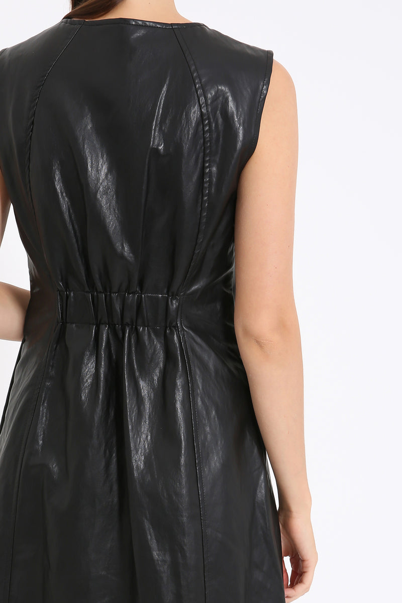 Leather Zip Up Dress