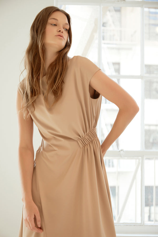 Knit Jersey Dress With Elastic Detail
