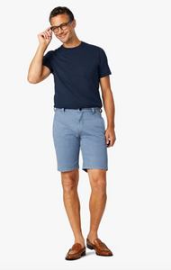 Arizona Brick Blue Fancy Twill Shorts. Mens Arizona blue shorts with navy polka dots in all sizes