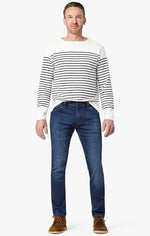 Load image into Gallery viewer, classic blue demin jeans with stress marks available in all size for men