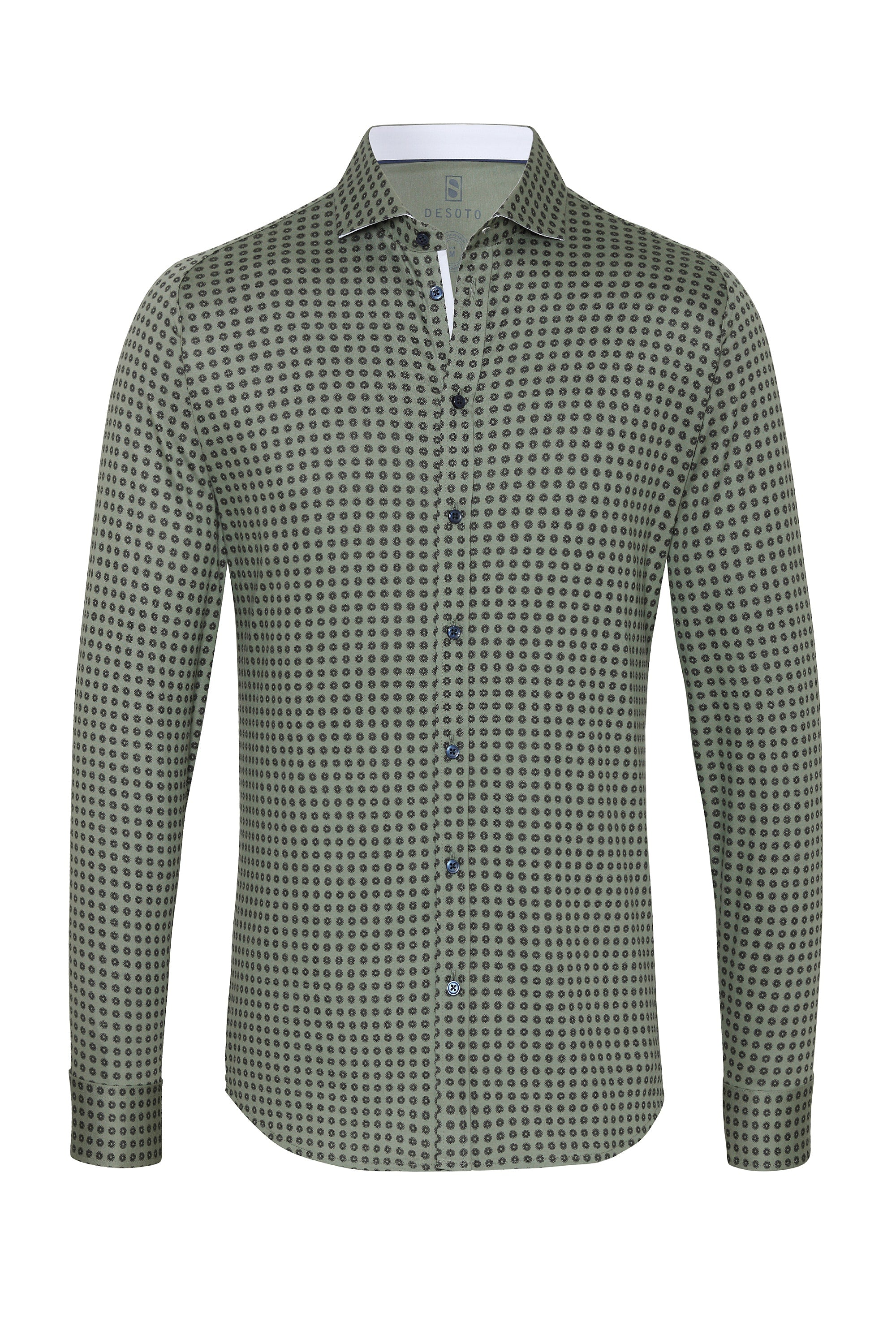 Long Sleeve Olive Printed Shirt