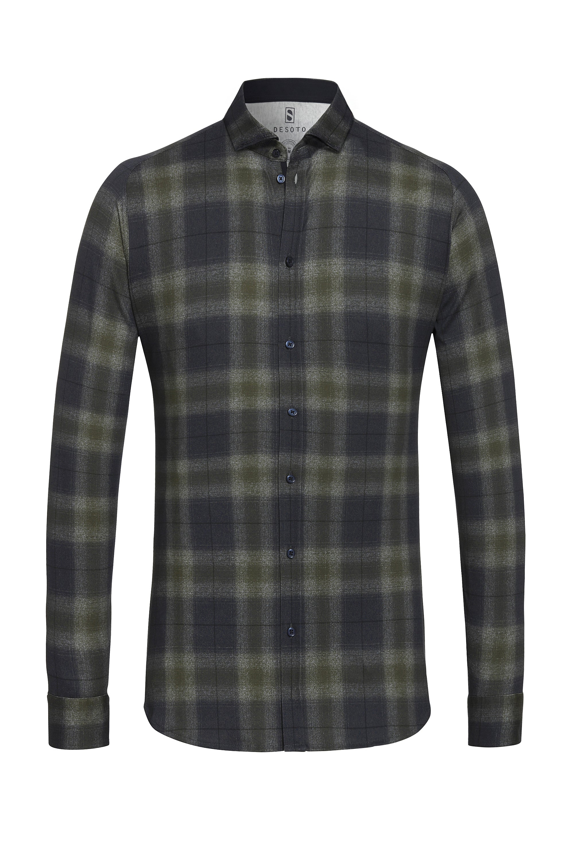 Olive-Navy Plaid Print Shirt