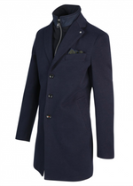 Load image into Gallery viewer, Navy Overcoat with Removable Front Lining