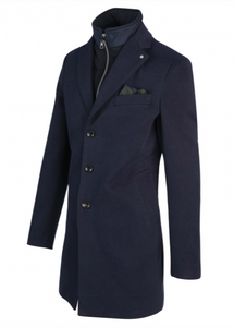 Navy Overcoat with Removable Front Lining