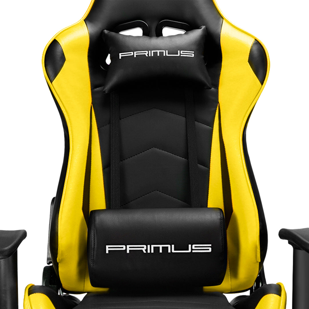 Silla Gamer Primus Gaming Thronos 100T, Reclinación 135º, Hasta 120kg, Amarilla