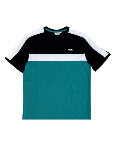 Fila T Shirt Anastas Teal Green Black Bright White