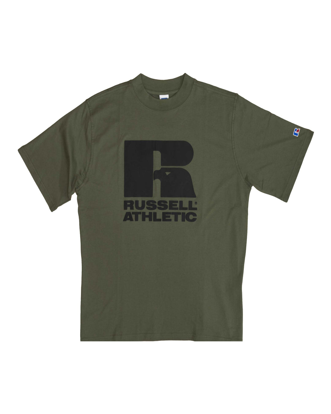 Russell T-Shirt Crew Neck Short Sleeve Tee Green/Black