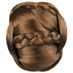 Jessica Simpson Hairdo Braided Chignon Clip In Bun Hair Ginger Brown