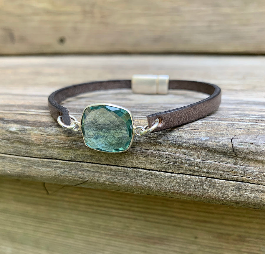 Licorice Leather Bracelet with Quartz Connector