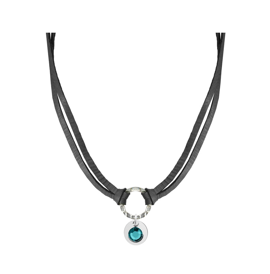 Leather Birthstone Choker