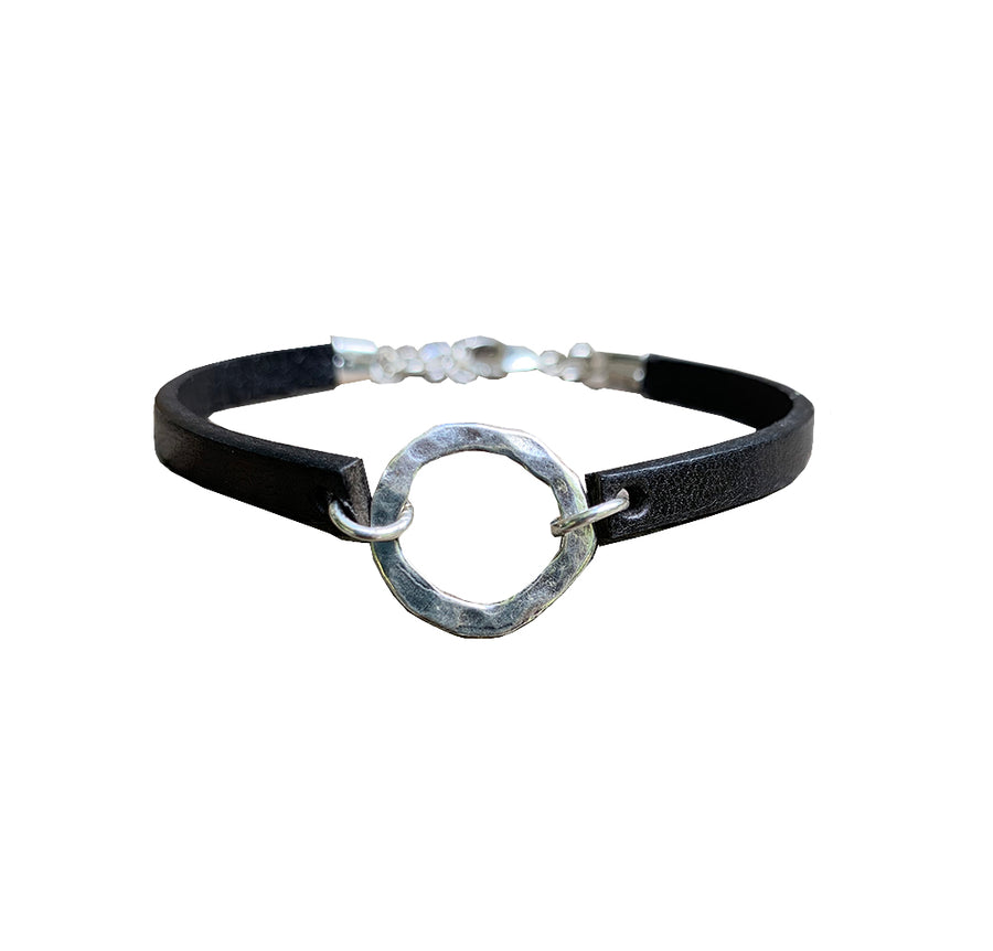 Licorice Leather Bracelet with Sterling Organic Ring