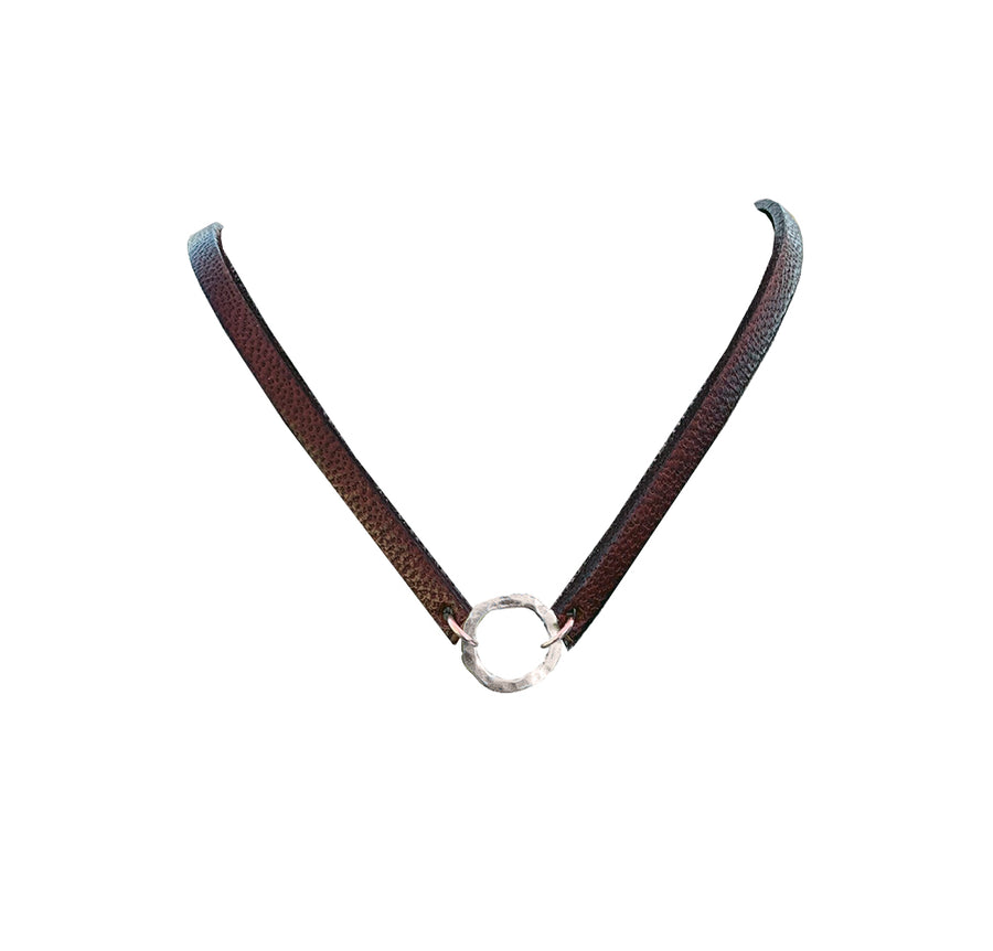 Licorice Leather Choker with Sterling Organic Ring