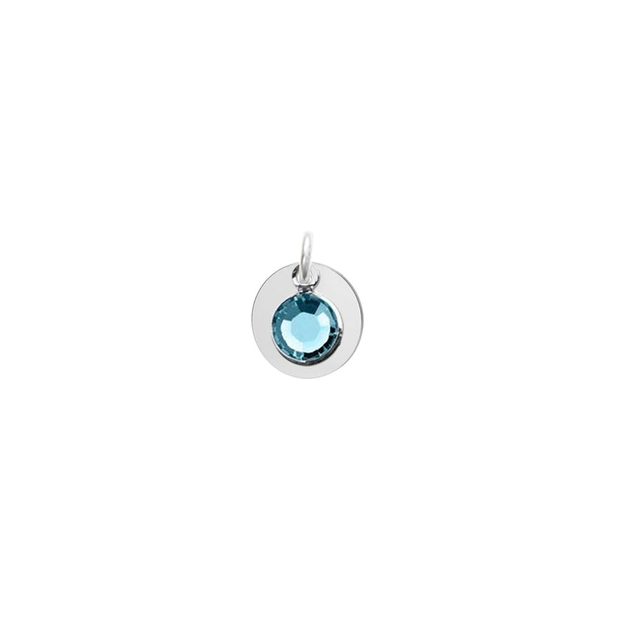 Birthstone and Silver Disc Pendant