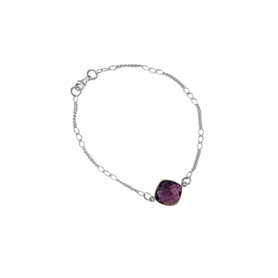 Sterling Silver Faceted Quartz Stone Ankle Bracelet