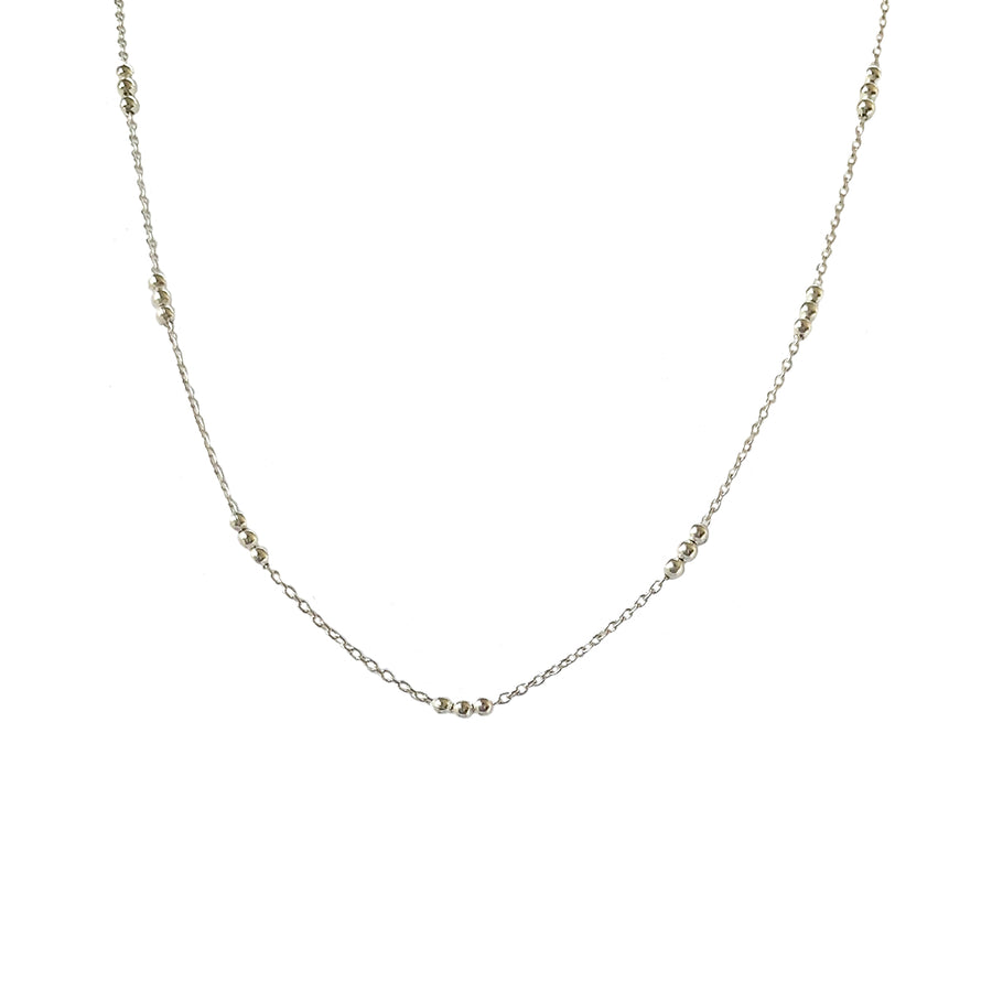 Sterling Silver Curb Chain with Bead Trio Necklace