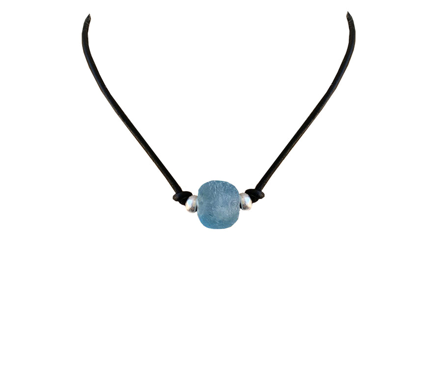 Recycled Glass Leather Necklace/Choker
