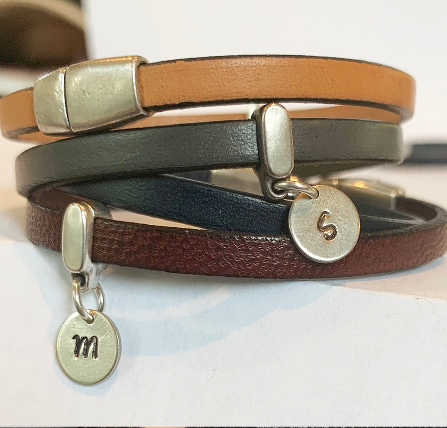 Licorice Leather Bracelet with One Charm Holder