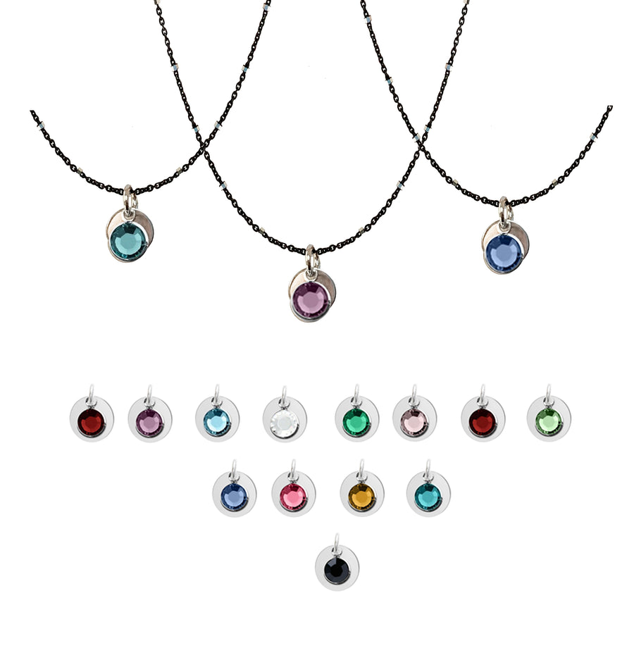 Two-Tone Sterling Silver Chain with Birthstone Pendant