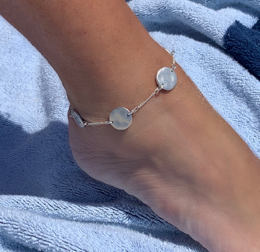 Ankle Bracelet -Organic coin sterling silver