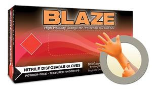Gloves, 5 Mil, Nitrile, Orange, Large, Microflex, 100 Box