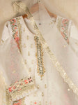03 PC Organza Embroidered Embellished Shirt