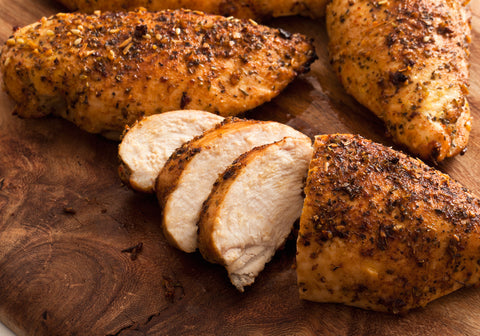 Sliced chicken breast with seasoning