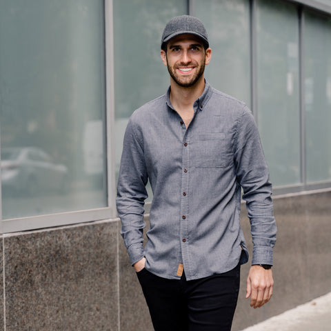 Vandre premium charcoal flannel hat styled by Dapper Professional wearing a gray button down.