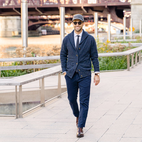 Vandre premium charcoal flannel hat styled by Dapper Professional wearing a cardigan, tie, chinos and boots, a perfect fall/winter combination.