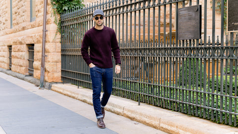 Vandre premium charcoal flannel hat styled by Dapper Professional wearing a burgundy sweater, denim and boots.