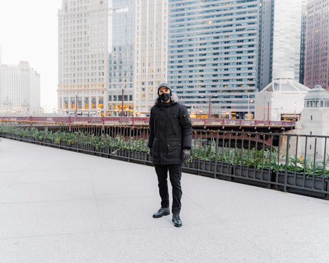 Vandre Flannel hat with a parka in downtown Chicago