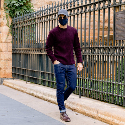 Vandre premium charcoal flannel hat styled by Dapper Professional wearing a burgundy sweater, denim, boots and a face mask.