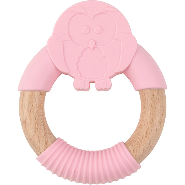 Oeko Teether Owl Pink