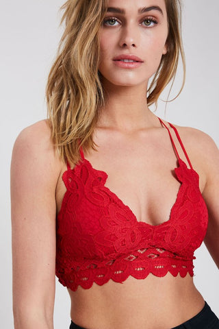 Red Lace Double Strap Bralette