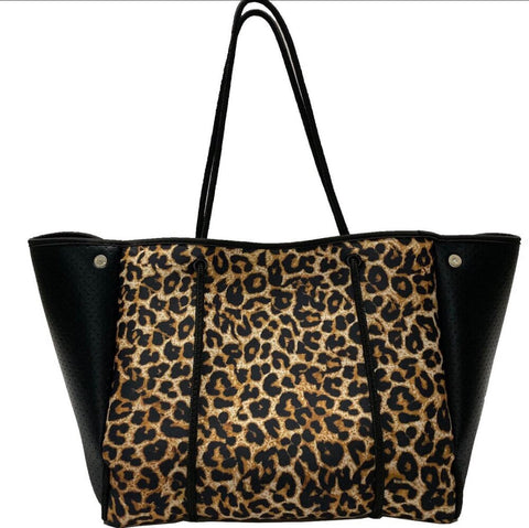Parker & Hyde Brown Leopard Neoprene Tote