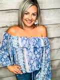 Blue Snake Skin Ruffle Top