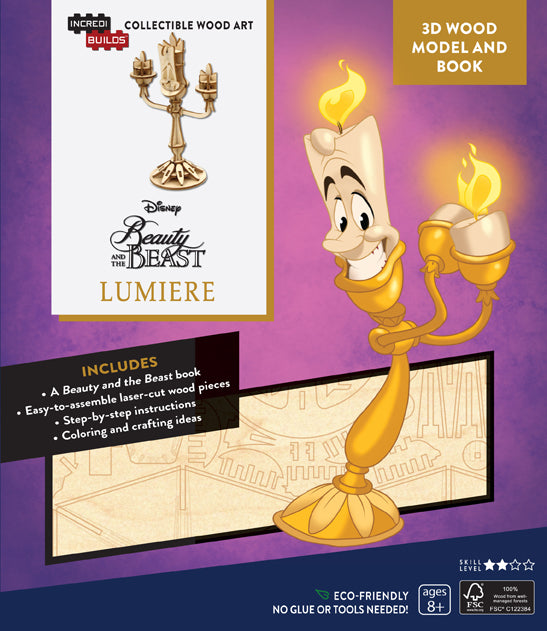 IncrediBuilds: Disney's Beauty and the Beast: Lumiere 3D Wood Model and Book