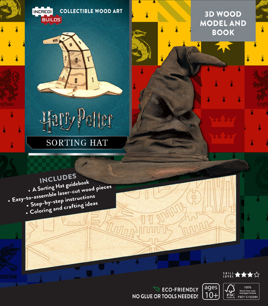 IncrediBuilds: Harry Potter: Sorting Hat 3D Wood Model and Book