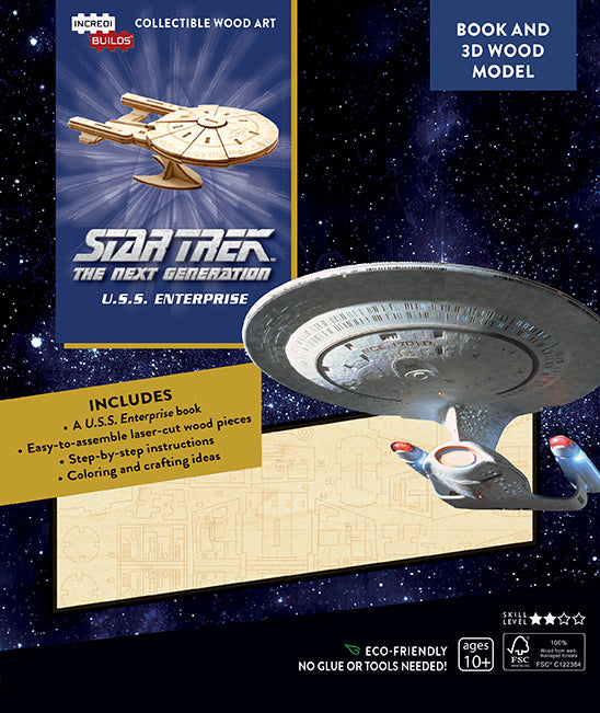 IncrediBuilds: Star Trek The Next Generation: U.S.S. Enterprise Book and 3D Wood Model