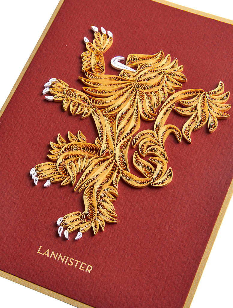 Game of Thrones: House Lannister Sigil Quilled Card