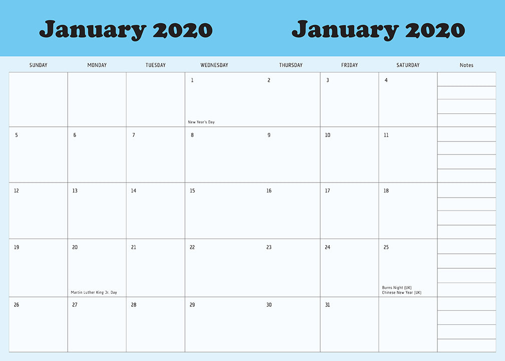 Rick and Morty 2020 Weekly Planner